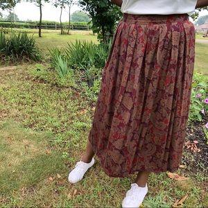 Dresses & Skirts - Maroon Paisley Pleated Midi Skirt